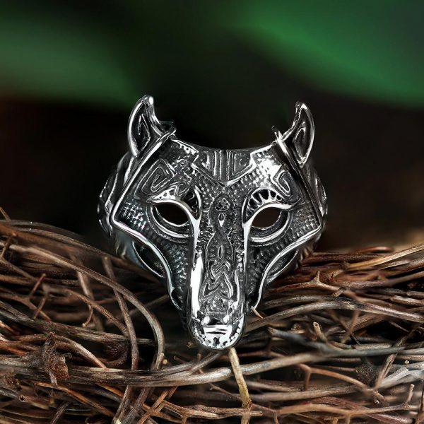 Nordic Wolf Stainless Steel Viking Ring