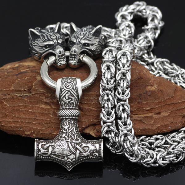 Nordic Wolf Mjolnir Stainless Steel Viking Beast Pendant