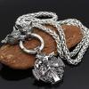 Odin Wolf Raven Stainless Steel Viking Pendant