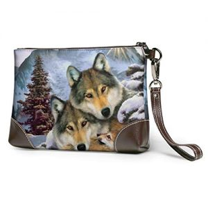 Hcluw Purses Clutch Phone Wallets Wolf Harmony Wildlife Animal Leather Small Wristlet Purses Handbag
