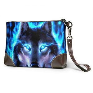 Hcluw Purses Clutch Phone Wallets Wolf Cool Eyes Leather Small Wristlet Purses Handbag