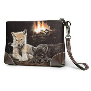 Wolf Cubs At Fire Place Soft Leather Clutch Crossbody Purses Clutch Phone Wallets With Card Slots For Women