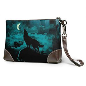 Wolf And Tree Soft Leather Clutch Crossbody Purses Clutch Phone Wallets With Card Slots For Women