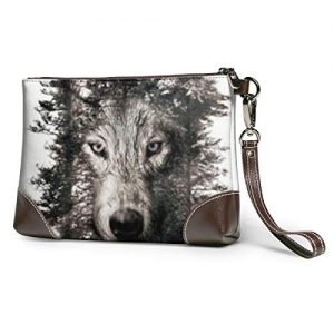 Hcluw Purses Clutch Phone Wallets Wolf in The Jungle Leather Small Wristlet Purses Handbag