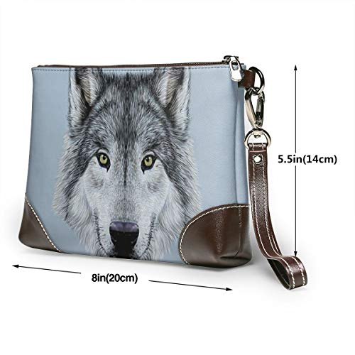 Hcluw Purses Clutch Phone Wallets Funny Wolf Leather Small Wristlet Purses Handbag