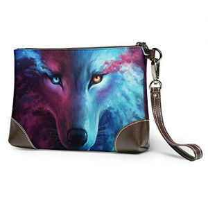 Universe Wolf Soft Leather Clutch Crossbody Purses Clutch Phone Wallets With Card Slots For Women