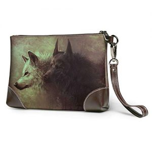 White Wolf And Black Wolf Soft Leather Clutch Crossbody Purses Clutch Phone Wallets With Card Slots For Women