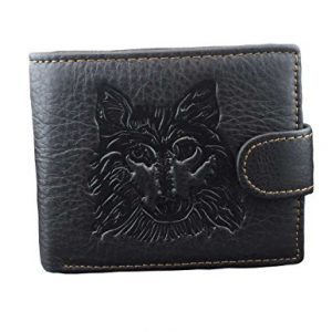 Mens Western Genuine Leather Wolf Head Snap Card Money Coins Wallet Black L62