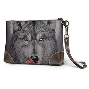 EYFlife Hungry Wolf Women Leather Purses Clutch Phone Cards Handbags