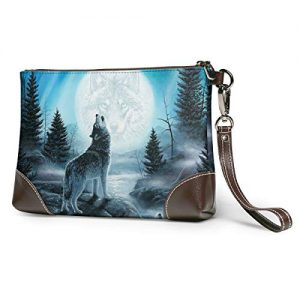Resentment Of The Wolf Soft Leather Clutch Crossbody Purses Clutch Phone Wallets With Card Slots For Women