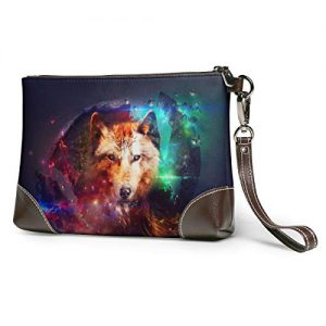 Starry Wolf Soft Leather Clutch Crossbody Purses Clutch Phone Wallets With Card Slots For Women