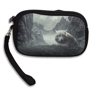 Animal Beautiful Cloud Mountain Rock White Wolf Deluxe Printing Small Purse Portable Receiving Bag
