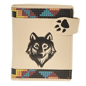 Shag Wear Women's Small Wallet Native Wolf Beige