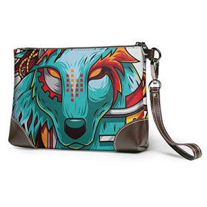 Digital Wolf Soft Leather Clutch Crossbody Purses Clutch Phone Wallets With Card Slots For Women