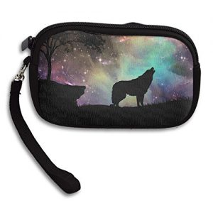 Wolf Howling Deluxe Printing Small Purse Portable Receiving Bag