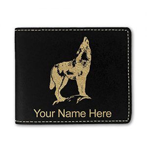 Faux Leather Wallet, Howling Wolf, Personalized Engraving Included