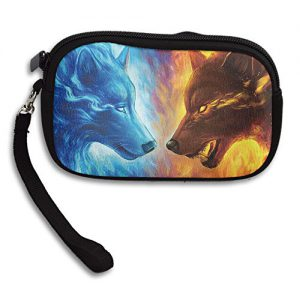Cool Fire Ice Wolf Deluxe Printing Small Purse Portable Receiving Bag