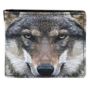 Personalized Engraved Howling Wolf Vegan Leather Bifold Wallet