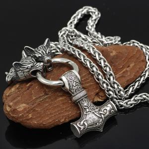 Mjolnir Wolf Stainless Steel Viking Pendant