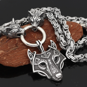 Slavic Celtic Wolf Head Stainless Steel Beast Viking Pendant