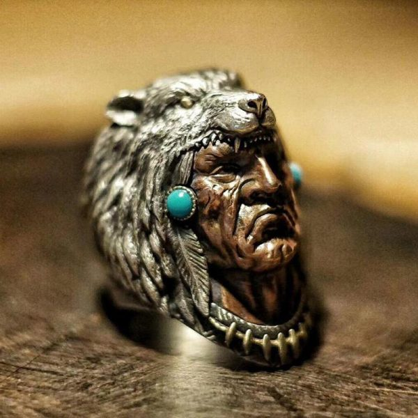 Indian Warrior Wolf Head Sterling Silver Ring