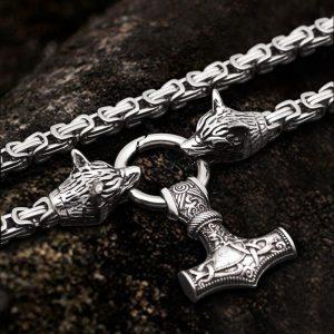 Wolf Mjolnir Stainless Steel Viking Pendant