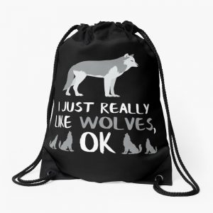 Love Wolves Gifts Loves Wolves Gifts Wolf Gifts Drawstring Bag