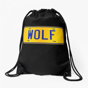 Wolf Name - Wolf Name Custom Number Plate Gift For Family Wolf Name Drawstring Bag