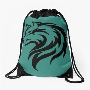Black wolf Drawstring Bag