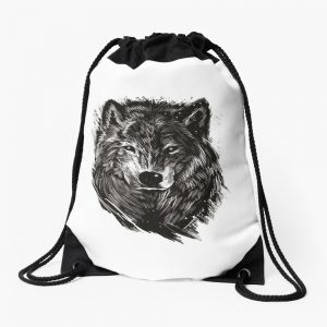 Black Wolf, Lone Wolf Drawstring Bag