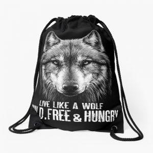 Live like a wolf Drawstring Bag