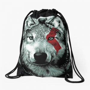 Wolf face with GOW Blood Drawstring Bag
