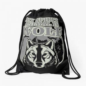 My Spirit Animal is Wolf - Spirit Animal Shirt - Wolf Shirt - Wolf Gifts - Wolf Lovers Shirt - Cute Wolf - Cute Wolf Gifts Drawstring Bag