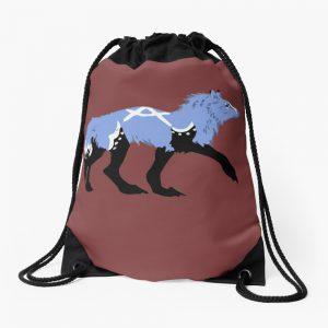 Tribal Wolf Transparent Wolf Art Wolf design Wolf Pattern Drawstring Bag