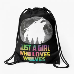 Just A Girl Who Loves Wolves - Cute Wolf Shirt - Wolf Shirt - Wolf Gifts - Wolf Lovers - Cute Wolf - Cute Wolf Drawstring Bag