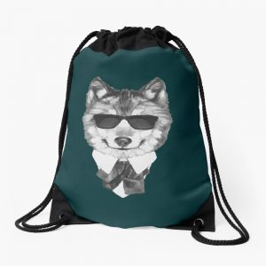 Cool Cute Wolf Design Wolf Art Print Arctic Wolf Lover Charm Wolf Party Gifts Drawstring Bag