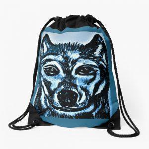 Blue Wolf Drawstring Bag