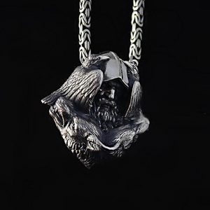 Odin Wolf Stainless Steel Viking Pendant