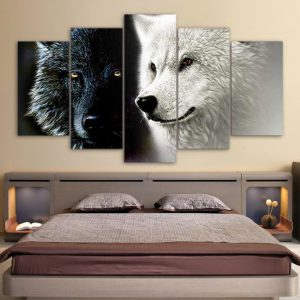 5 Piece Black & White Wolf Companions Canvas Wall Art