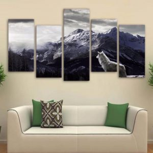 5 Piece Black & White Mountain Wolf Canvas Wall Art