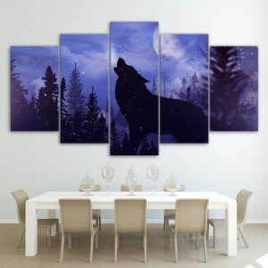 5 Piece Blue Howling Lunar Wolf Canvas Wall Art