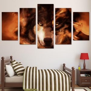 5 Piece Orange Mystical Burning Wolf Canvas Wall Art