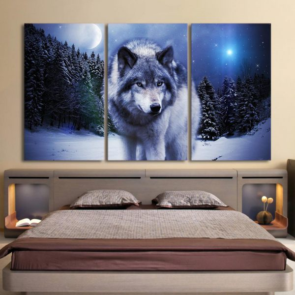 3 Piece Prowling Night Snow Wolf Canvas Wall Art