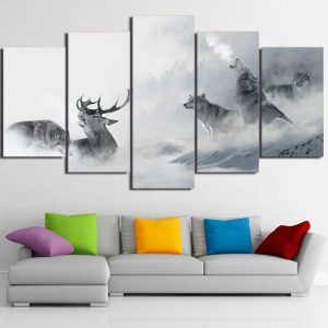 5 Piece Black & White Howling Wolf / Elk Canvas Wall Art