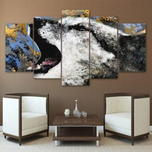 5 Piece Painted Abstract Howling Wolf Canvas Wall Art
