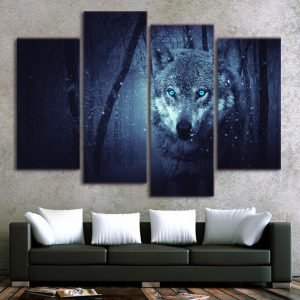 4  Piece Blue-Eyed Snow Wolf Hunt Canvas Wall Art