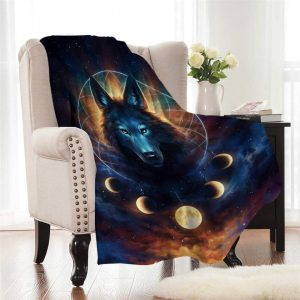 Lunar Wolf Dream Catcher Fleece Throw Blanket