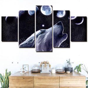 5 Piece Black Howling Lunar Wolf Cycle Canvas Wall Art