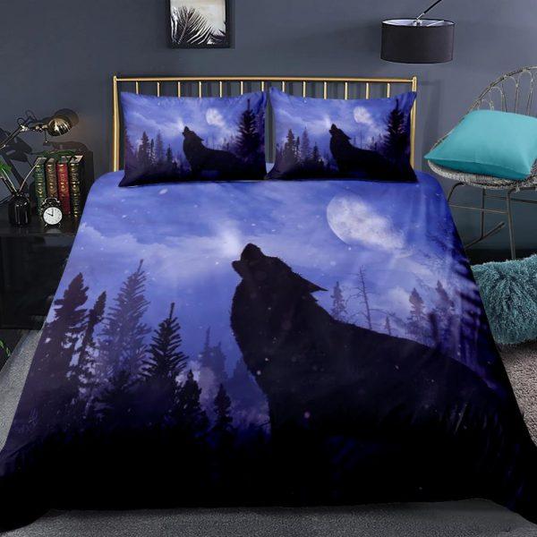 2/3-Piece Howling Wolf Night Sky Print Duvet Cover Set