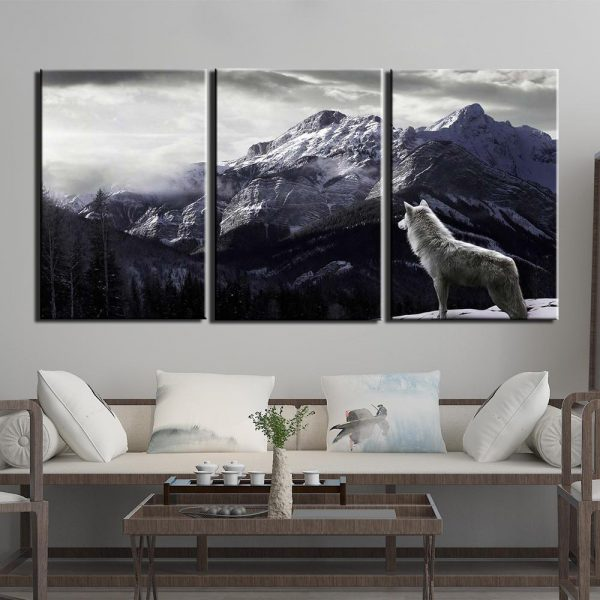 3 Piece Black & White Mountain Wolf Canvas Wall Art